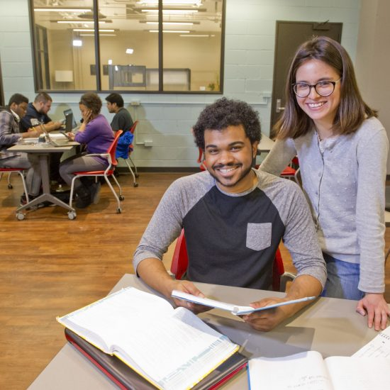 two students in the Equity and Inclusion in Engineering Program office